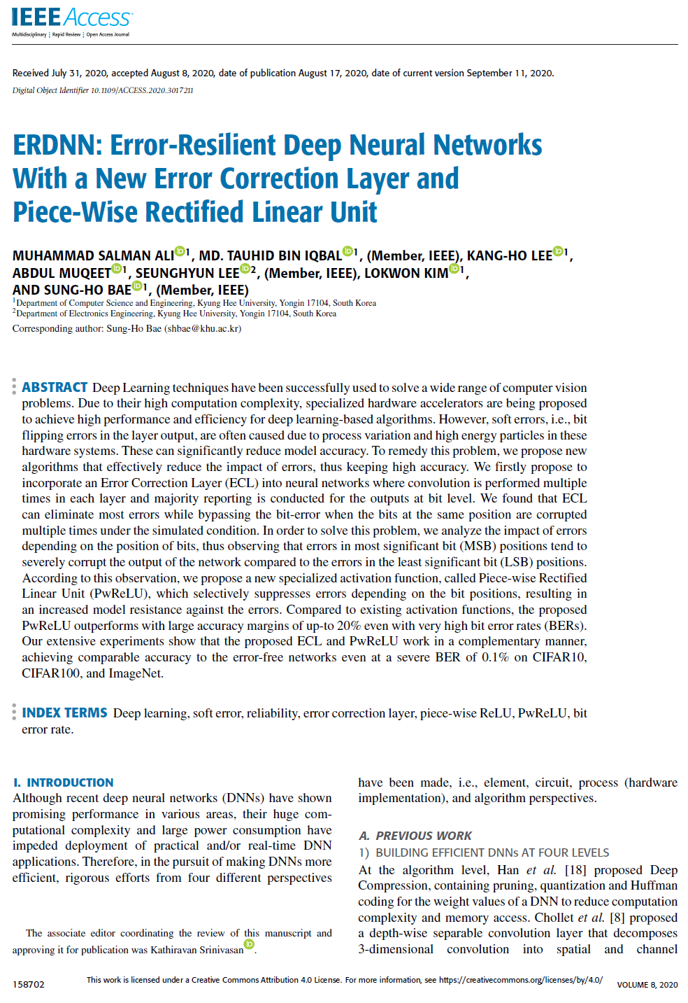 ERDNN: Error-Resilient Deep Neural Networks With a New Error Correction Layer and Piece-Wise Rectified Linear Unit